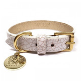 Dog Collar - Madison Avenue_Walk_White & Gold Crackled Glazed Italian Leather_www.hugoandotto.com