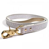 Dog Lead - Madison Avenue White/Gold Crackle Glazed Fine Italian Leather_Walk_www.hugoandotto.com