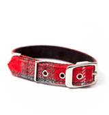 Dog Collar - Hoxton Harris Tweed Red/Grey_Walk_www.hugoandotto.com