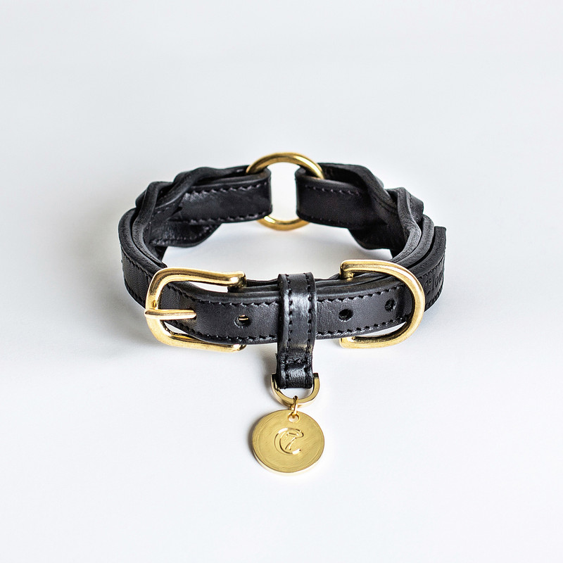Dog Collar - Hyde Park Braided Leather Black Small www.hugoandotto.com