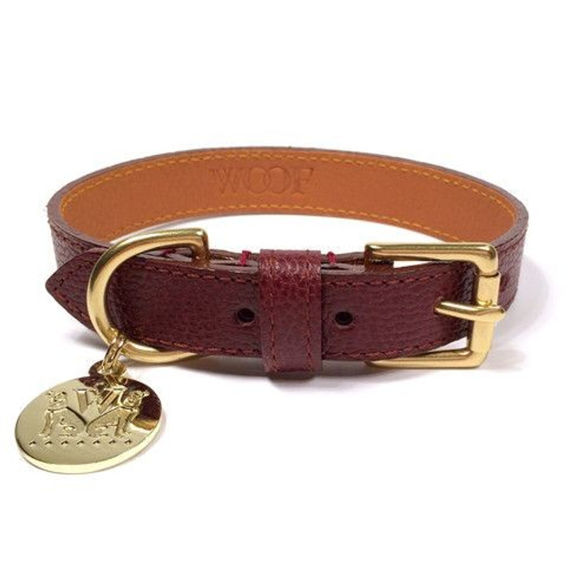 Dog Collar - Bleecker_Walk_Oxblood Woof New York Dog Collar_www.hugoandotto.com