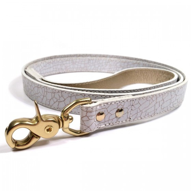 Dog Lead - Madison Avenue_Walk_White & Gold Crackled Glazed Italian Leather_www.hugoandotto.com