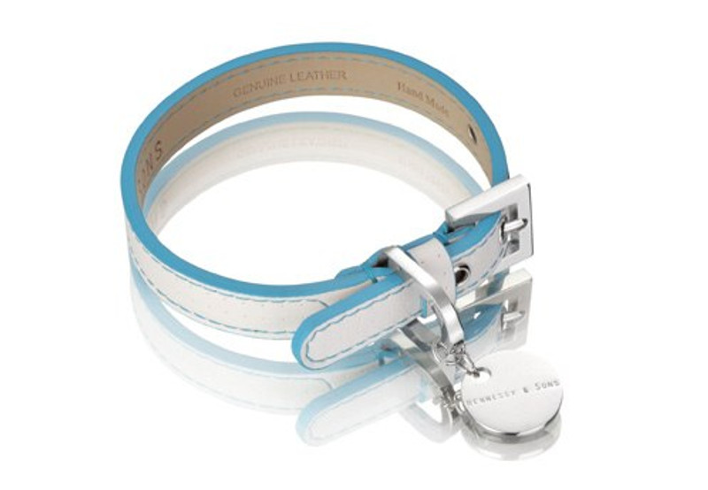 Dog Lead - Polo Club Collection_White Perforated Italian Calf Leather_Light Blue_www.hugoandotto.com