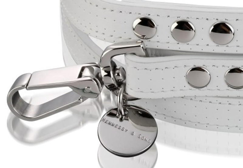 Dog Lead - Polo Club Collection_White Perforated Italian Calf Leather_Hardware Detail_www.hugoandotto.com