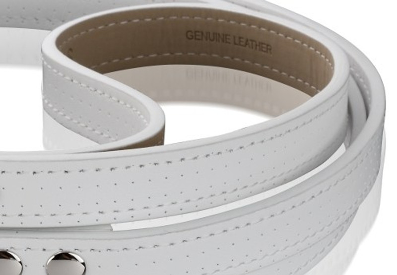 Dog Lead - Polo Club Collection_White Perforated Italian Calf Leather_Handle Detail_www.hugoandotto.com
