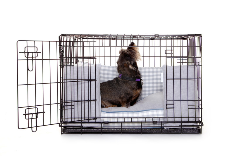 Hugo_and_Otto_Great_Tew_Cosy_Dog_Crate_Bumper_Front_Door_(Wide Door opening)_dressed_with_boxy_Cushion_lifestyle_Finnbar_jpeg