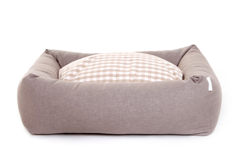 Hugo_and_Otto_Stow_Bolster_Dog_Bed_Cotwolds_Plains_Beige_with_Gingham_Sleep_Cushion_jpeg