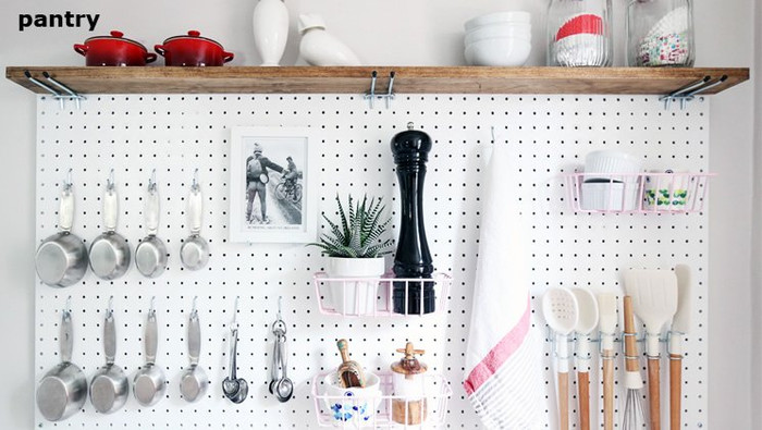 Plastic pegboard white in  kitchen
