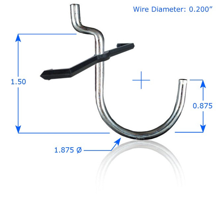 """Chrome Plated 1-1/2"""" Curved Hook with Peg Lock (6 Pack) (DL-HL14115)"""