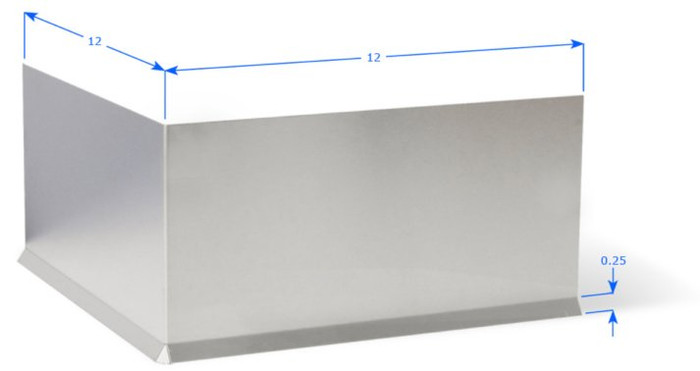 """Premolded Outside Corner with 12"""" Wings, Straight Brushed Aluminum Cove"""