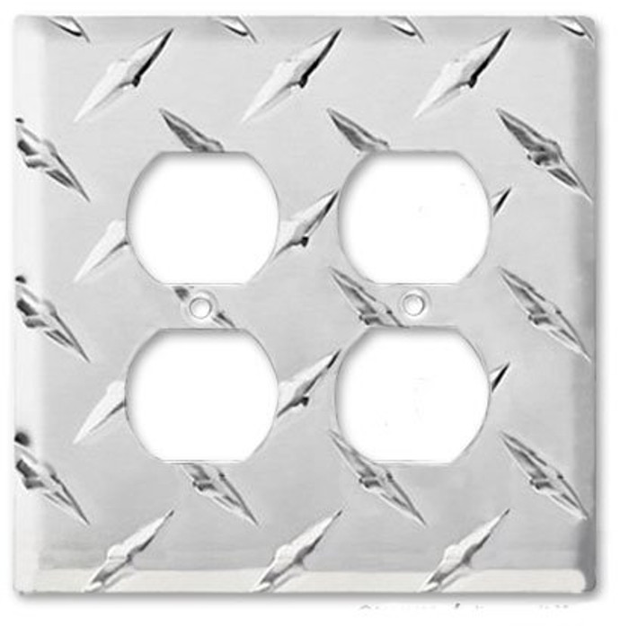 Diamond Plate Aluminum Double Outlet Cover