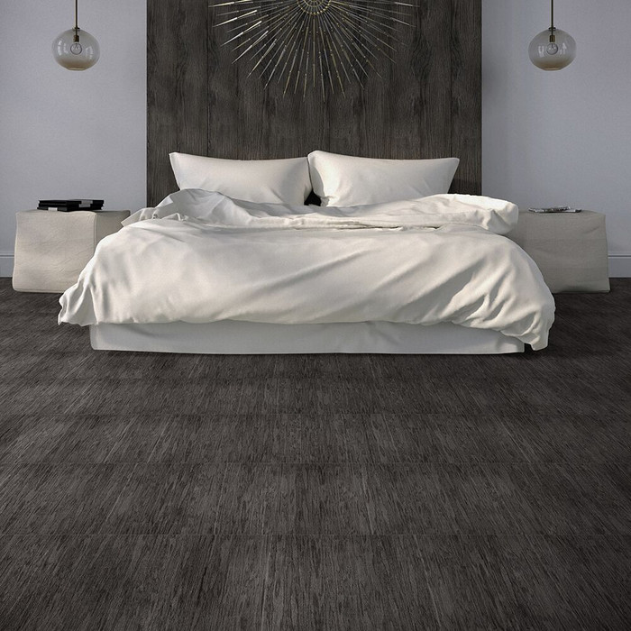 Perfection Floor Tile Wood Grain Farmhouse Look - Coal Chamber installed in a home.