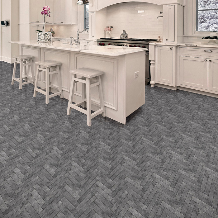 Perfection Floor Tile Natural Stone Chevron Blackstone Kitchen
