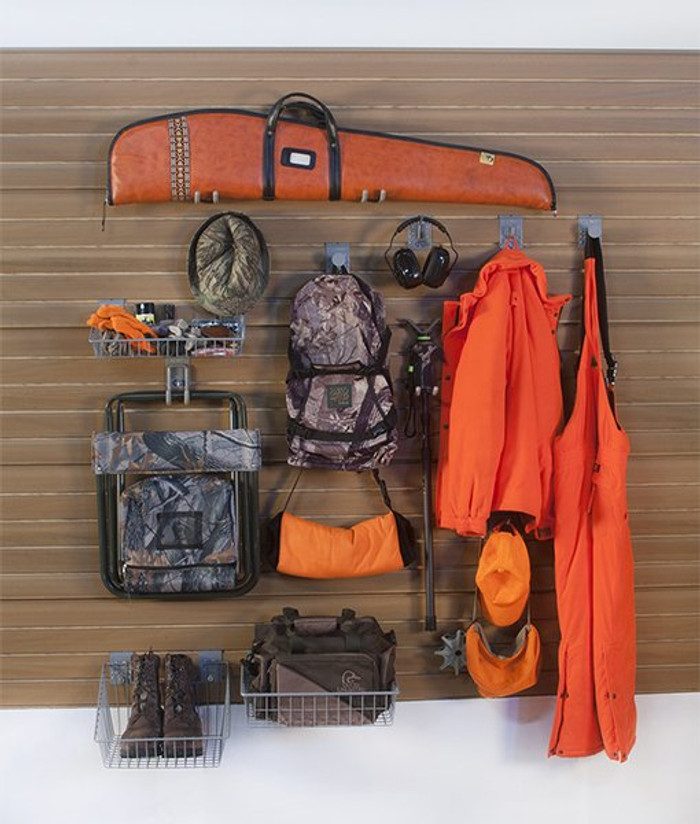 StoreWall Hunting Kit with Panels and Hooks plus baskets