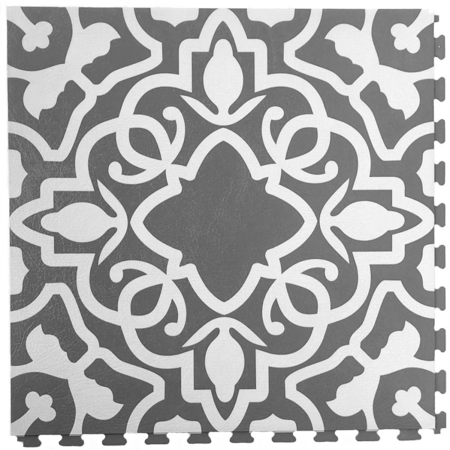 Perfection Floor Tile Painted Concrete, flexible interlocking tile.  Grey and White