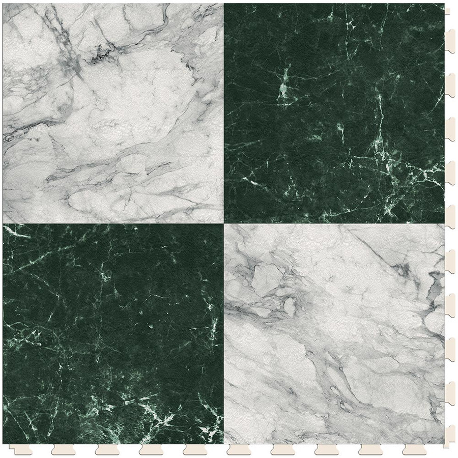 Checkerboard - White and Green Marble