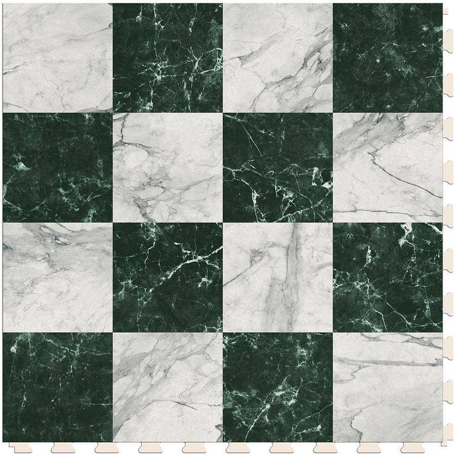 Checkerboard - White and Green Marble Small