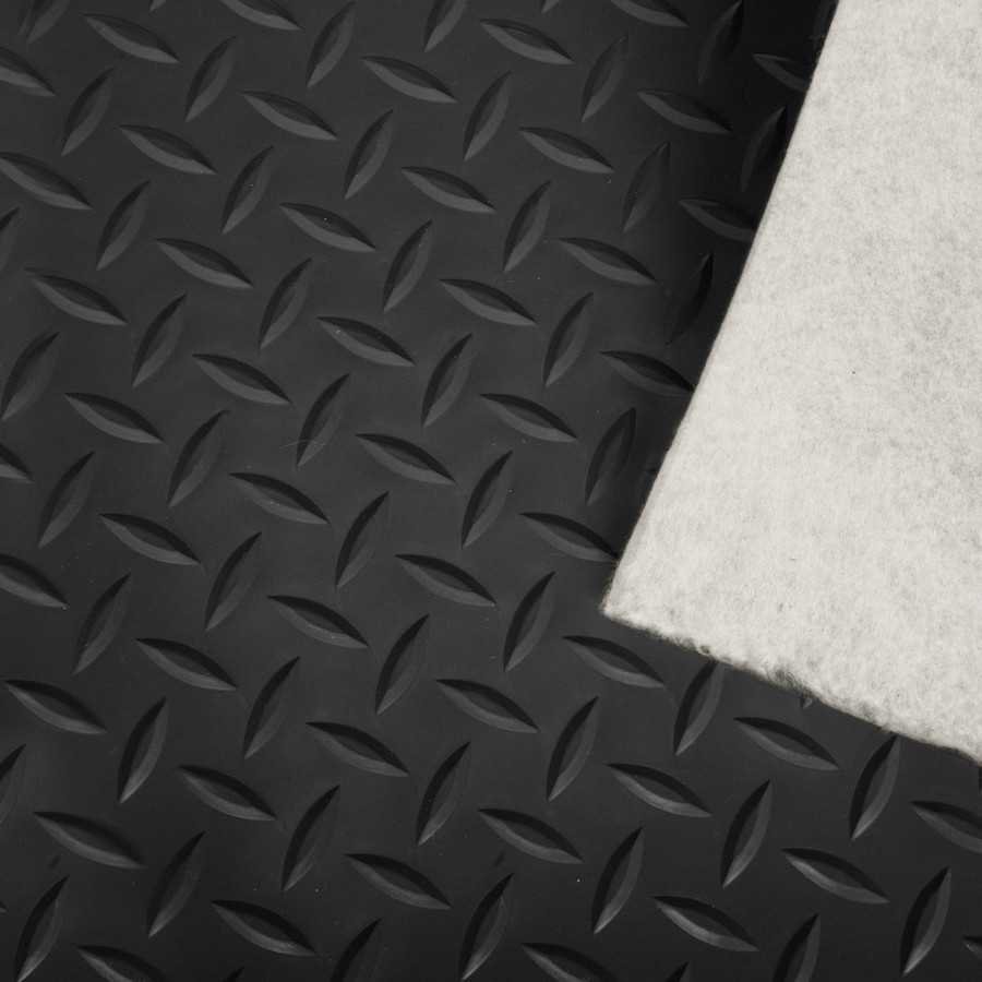 Trailer Flooring with Felt Back, Diamond Pattern Black, Vinyl