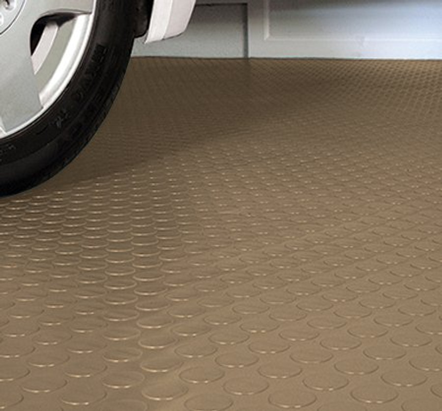 G-Floor Coin Pattern Rollout Floor Covering Sandstone Tan