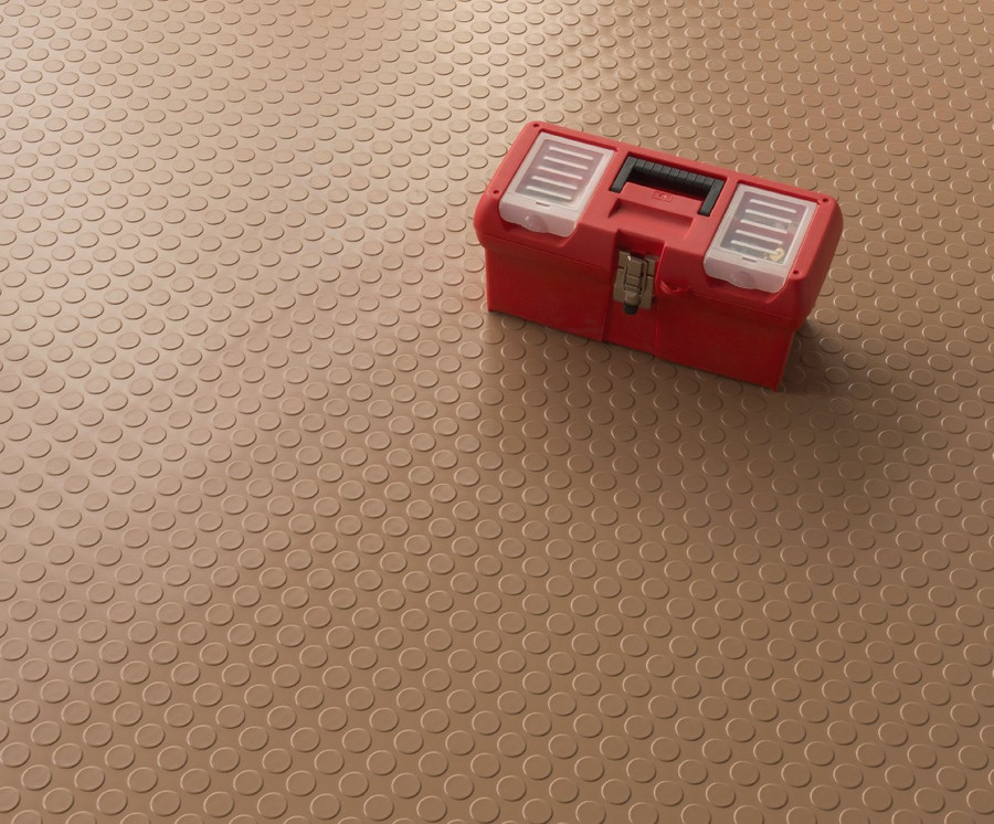 G-Floor Coin Pattern Roll Out Floor Covering Sandstone Tan with tool box