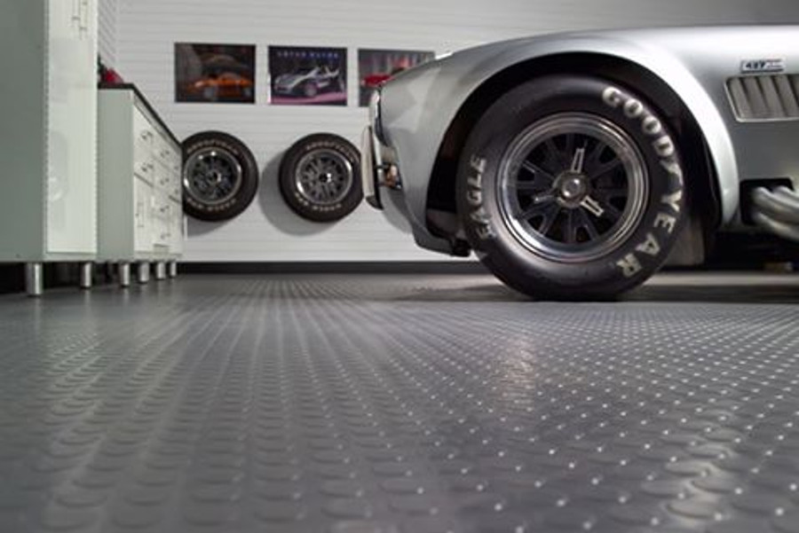 G Floor Coin Pattern Rollout Floor Covering Slate Grey used in a garage