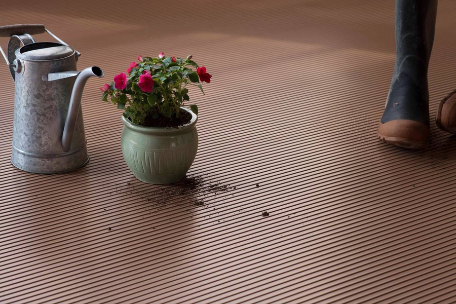 G Floor Roll Out Flooring Ribbed Sandstone Tan