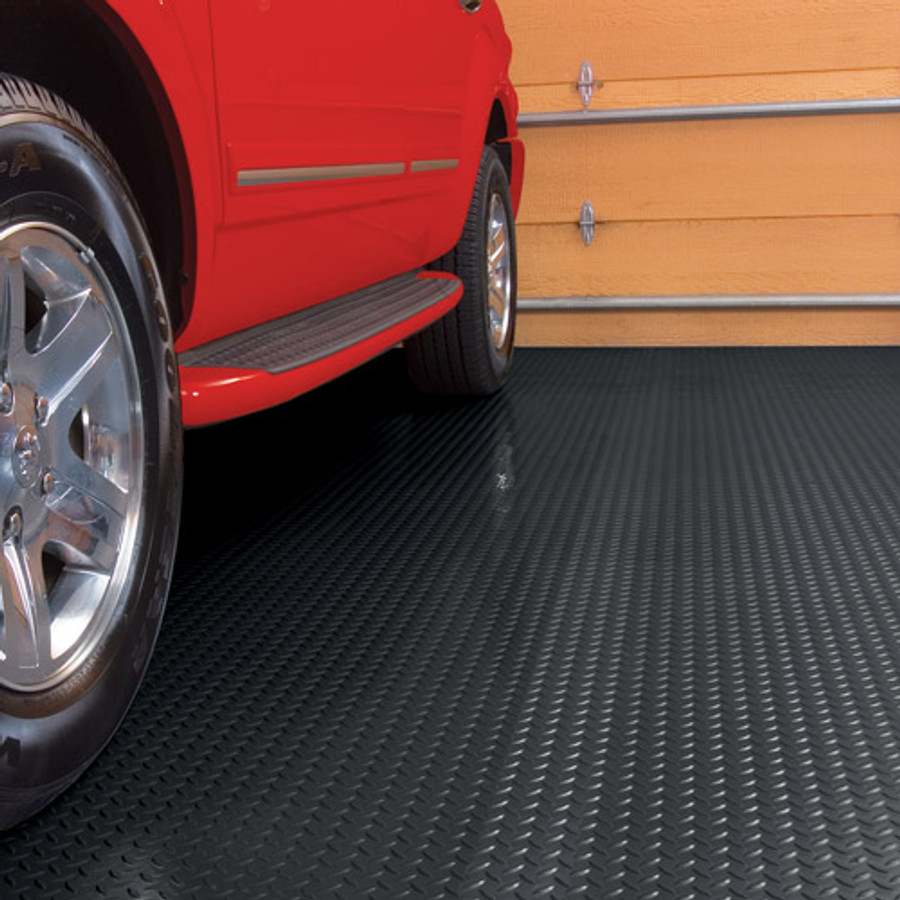 G Floor Diamond Tread Pattern, Roll Out Garage Flooring Midnight Black
