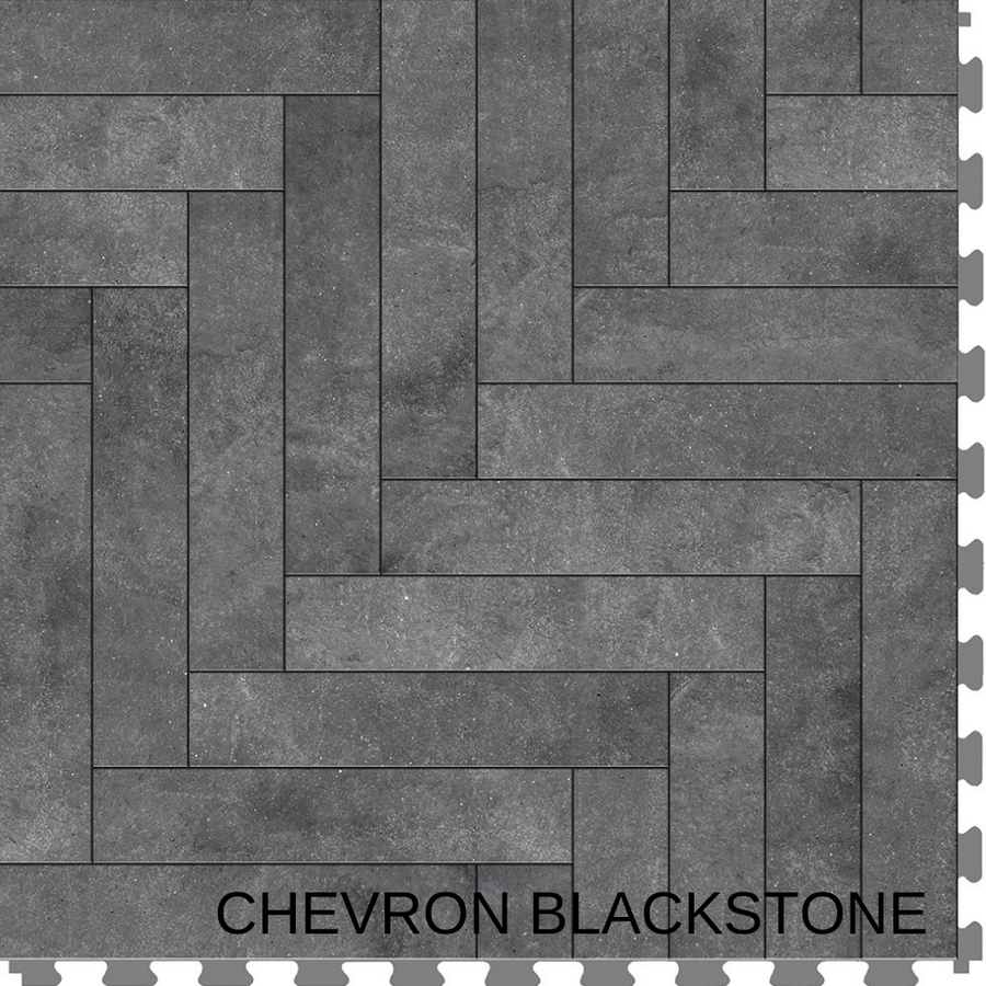 Perfection Floor Tile Natural Stone Master Mosaic Chevron Blackstone