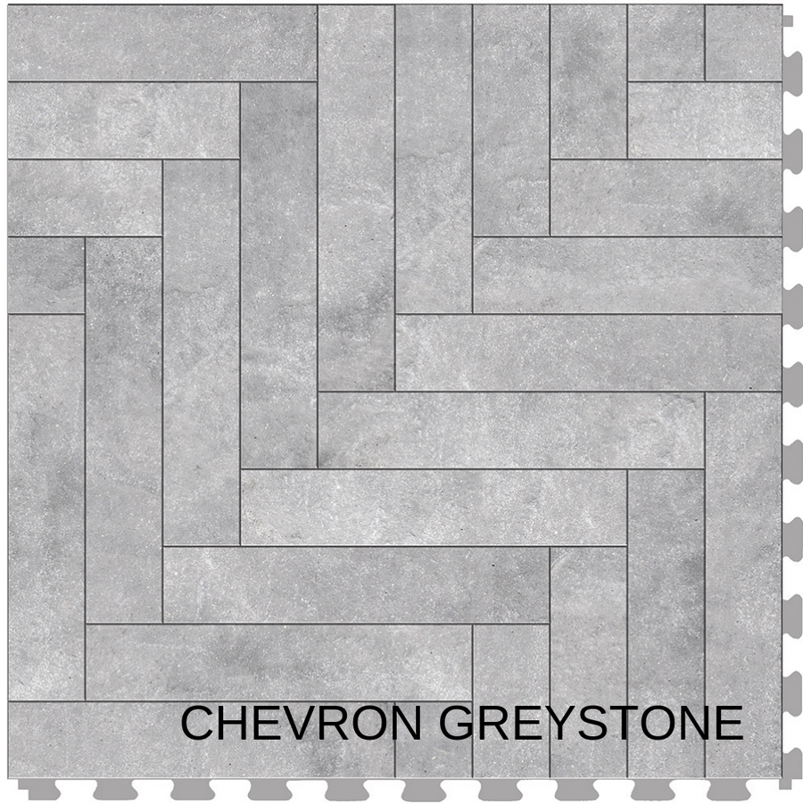 Perfection Floor Tile Natural Stone Chevron Greystone