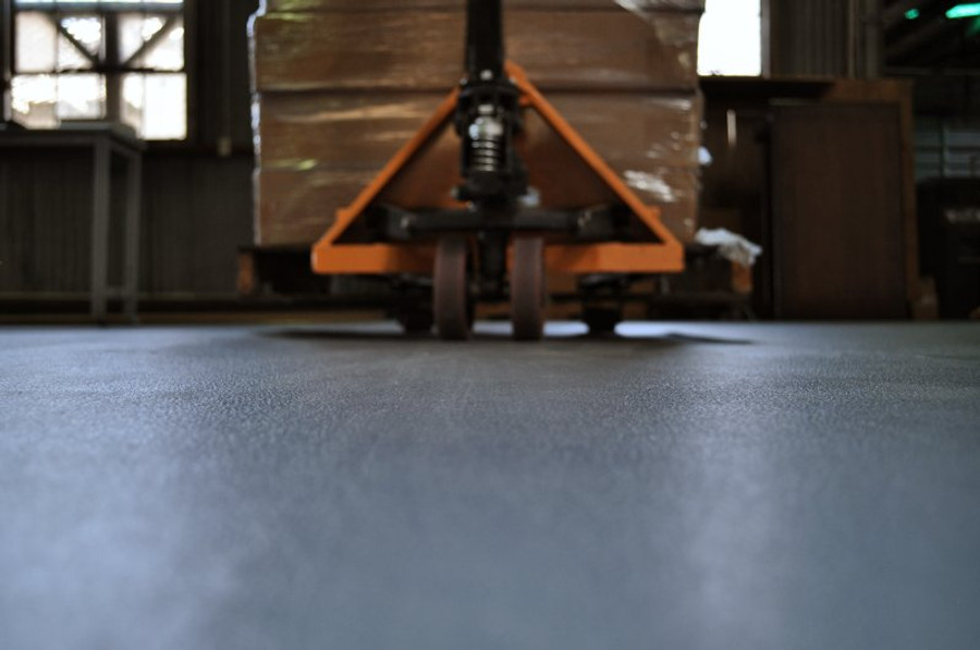 Pallet Jack rolling on Commercial Tiles, Perfection Floor Tile