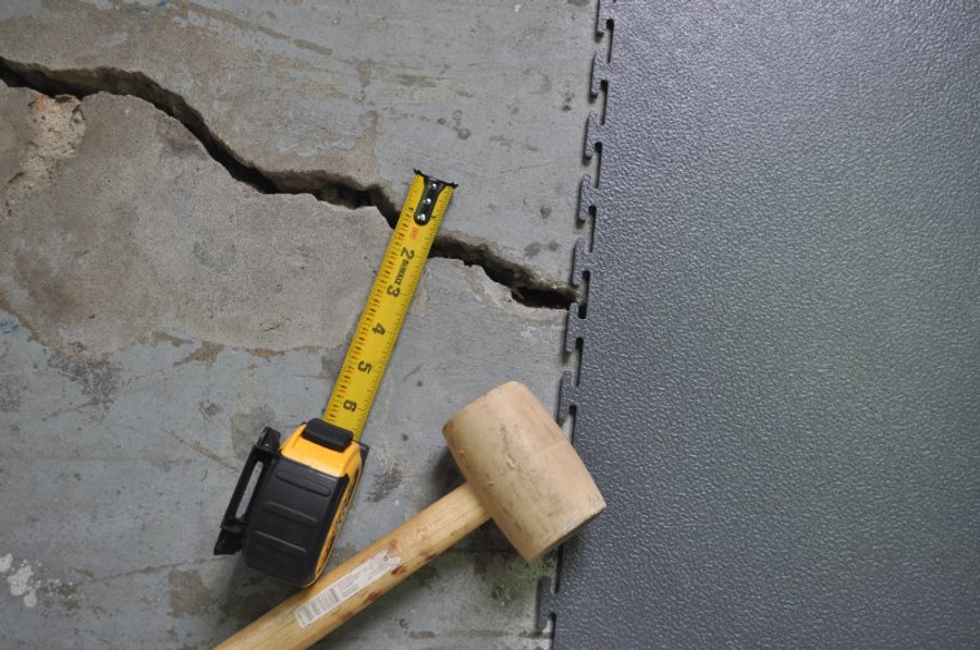 Cover cracks and peeling epoxy with our loose lay interlocking 7mm tiles.