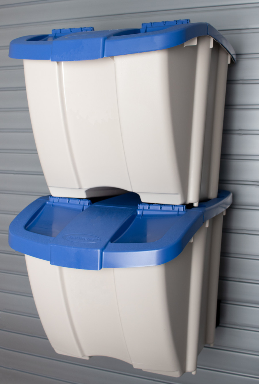 HandiWall Recycle Center Taupe with Blue Lids