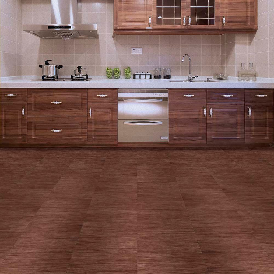 Perfection Floor Tile Walnut Wood in a kitchen
