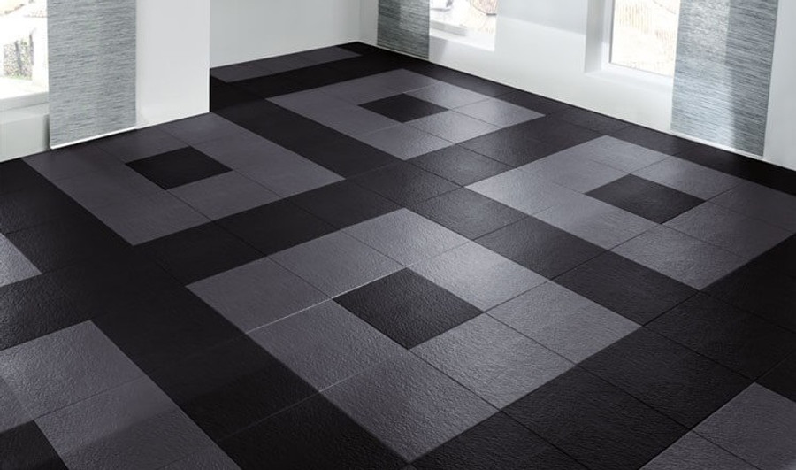Perfection Floor Tile Slate Dark Grey in a home
