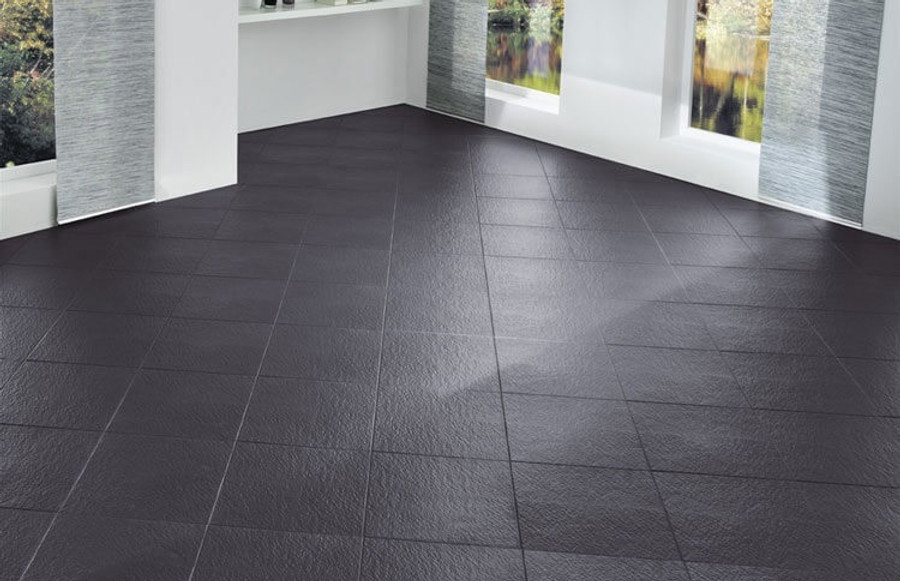 Perfection Floor Tile Homestyle Slate Dark Grey, easy diy flooring, interlocking flexible tiles