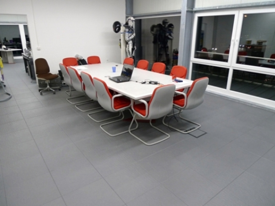 Perfection Floor Tile Homestyle Slate Dark Grey in an office space, easy diy flooring, interlocking flexible tiles