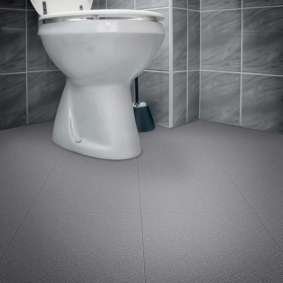 Perfection Floor Tile Homestyle Slate Dark Grey in a bathroom, easy diy flooring, interlocking flexible tiles