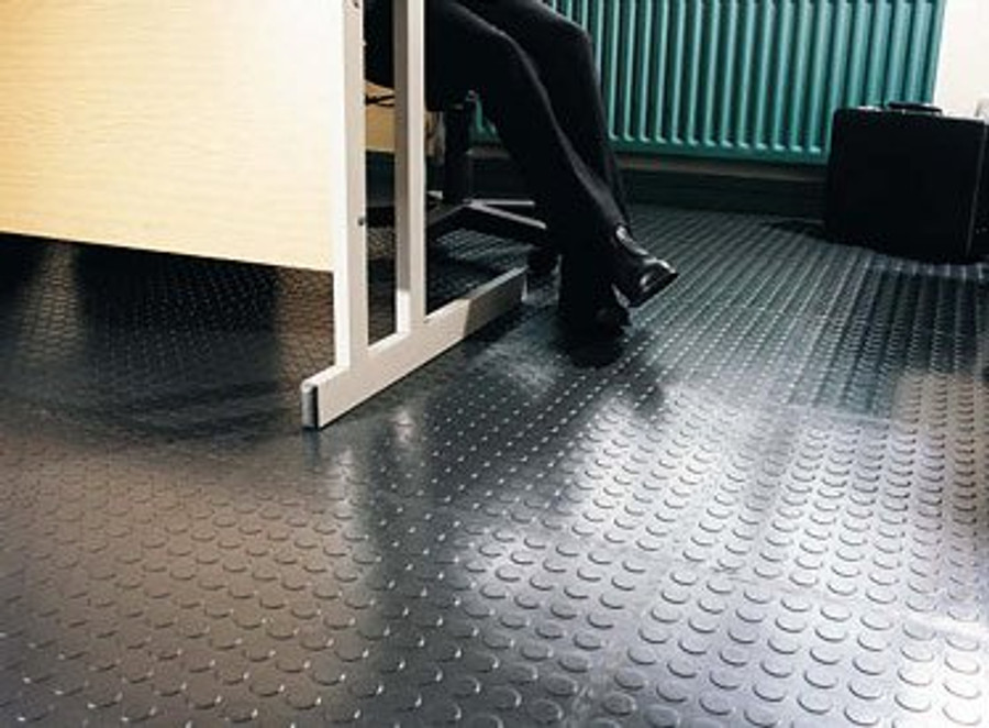 Perfection Floor Tile Flexi Tile Coin Pattern Black, Flexible Tiles