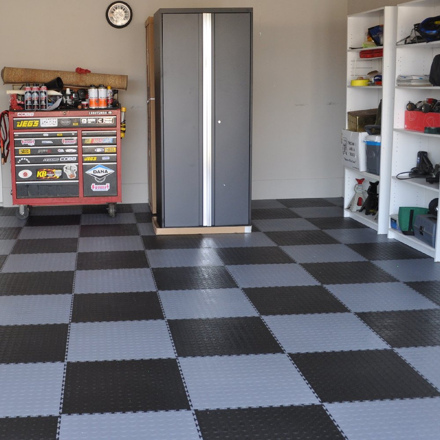Flexi Tile by Perfection Floor Tile, Coin Pattern Dark Grey and Black