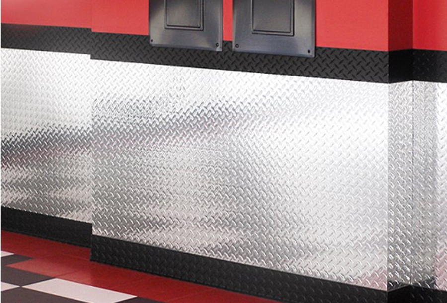 """Outside Corner Diamond Plate 17 GA (Heights: 2"""" H, 4"""" H, 4-3/4"""" H, 6"""" H, 8""""H Straight or Cove"""