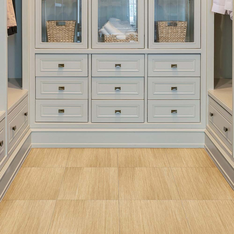 Perfection Floor Tile Natural Stone Wood Grain Birch in a closet