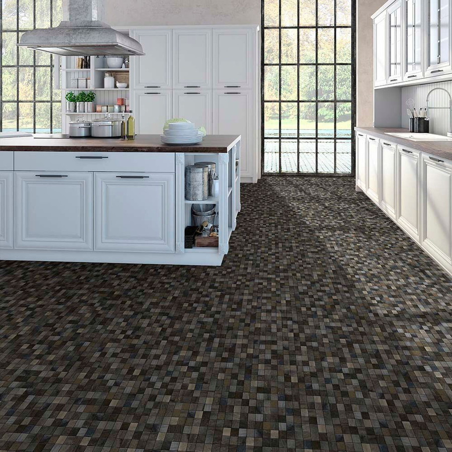 Perfection Floor Tile Natural Stone Mosaic used in a kitchen setting