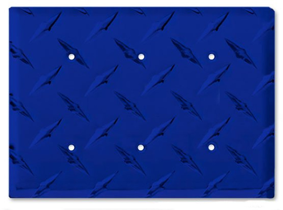 Blue Aluminum Diamond Plate Triple Blank Outlet Cover
