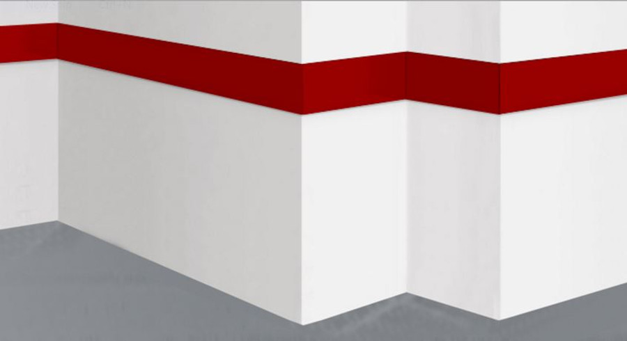 Aluminum Wall Base Molding Straight Red