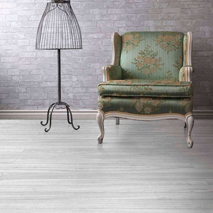 Perfection Floor Wood Grain - Grey Oak Plank used in a seating area - Elite Xpressions