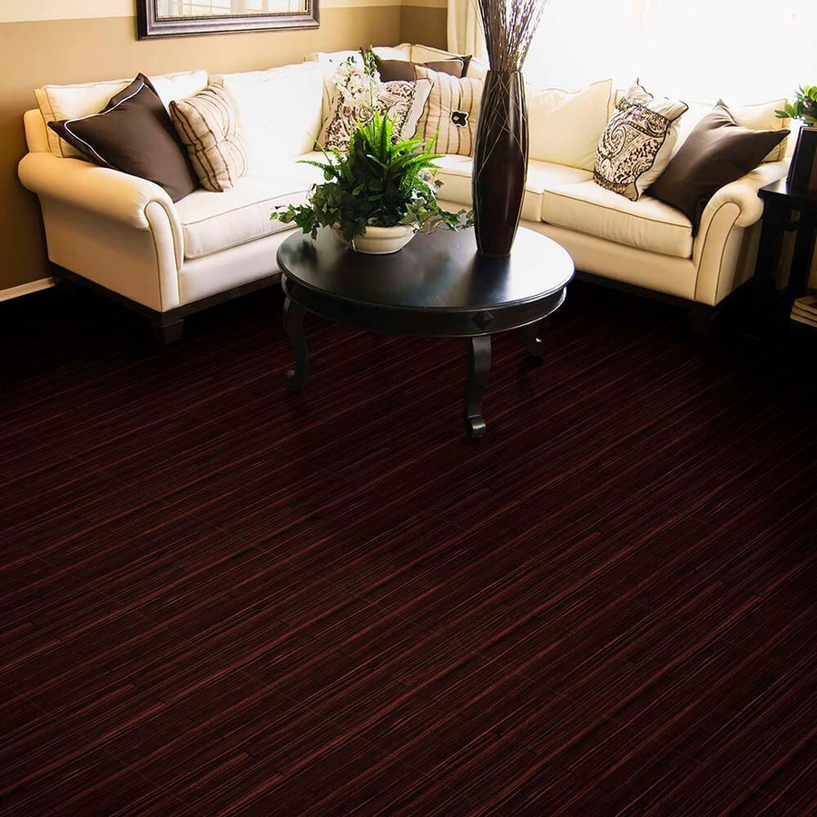 Mahogany Wood Plank Perfection Floor Tile in a living room