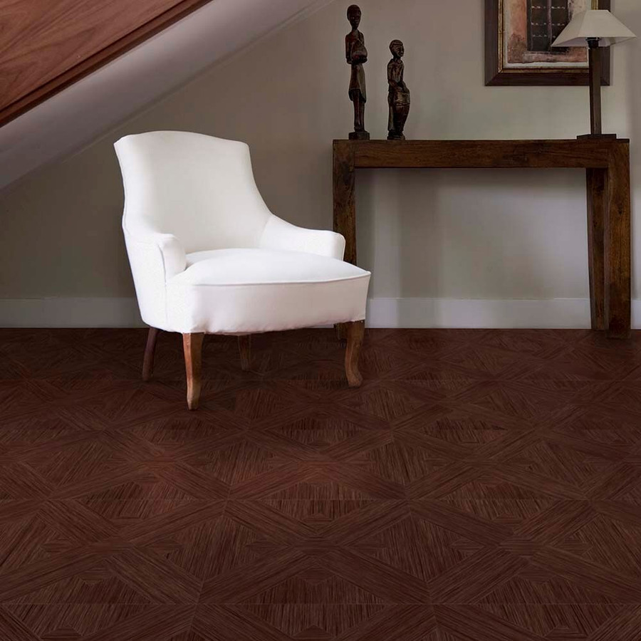 Perfection Floor Wood Grain - Walnut Bordeaux used in seating area - Flexi Tiles