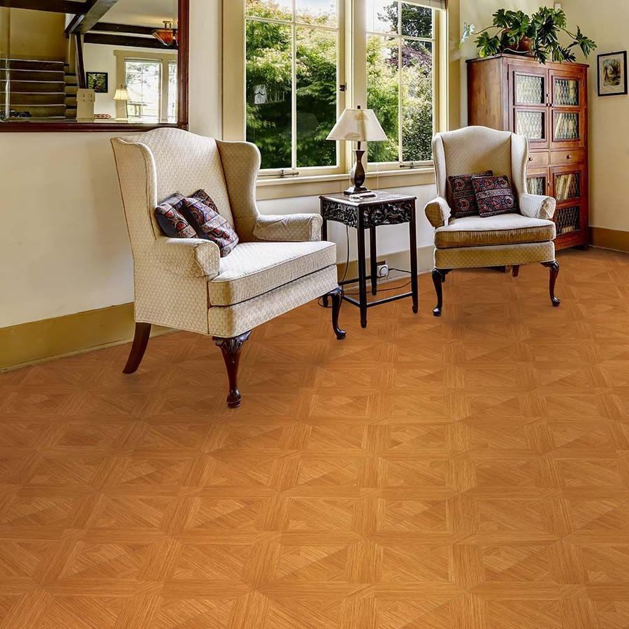 Perfection Floor Tile Wood Grain - Maple Bordeaux used in a living area