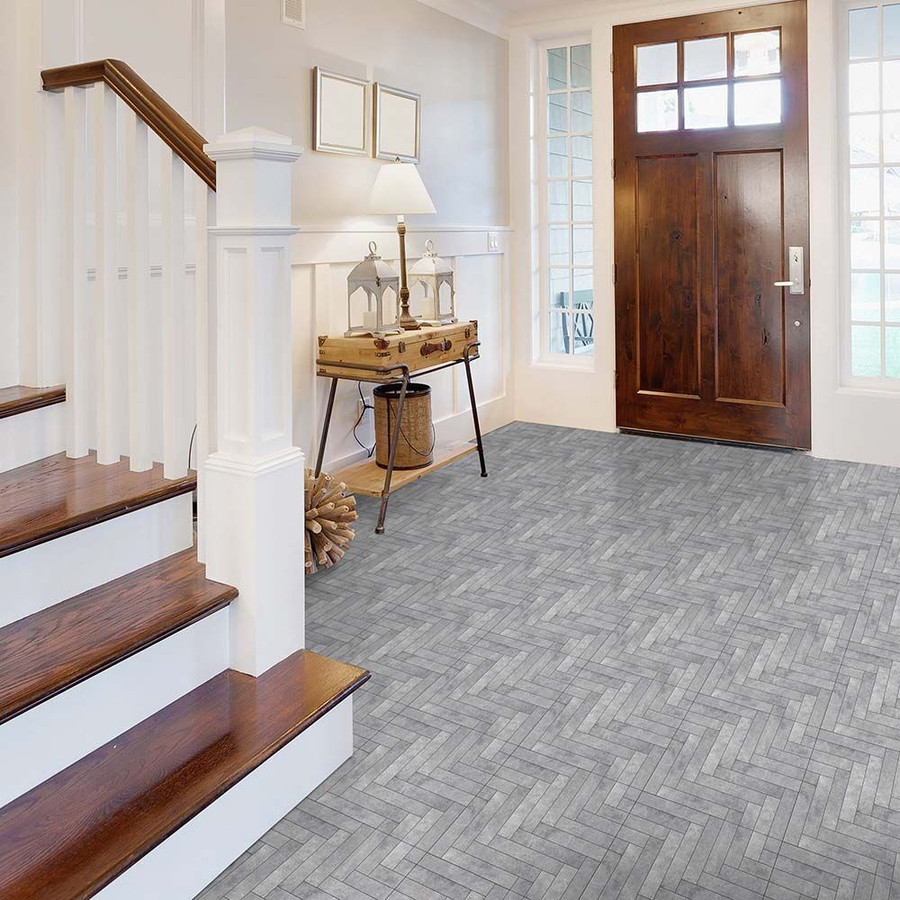 Perfection Floor Tile Chevron Graystone in an entry way