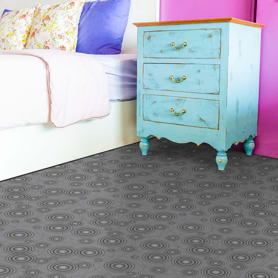 Perfection Floor Tile Custom Print Orbit in a bedroom
